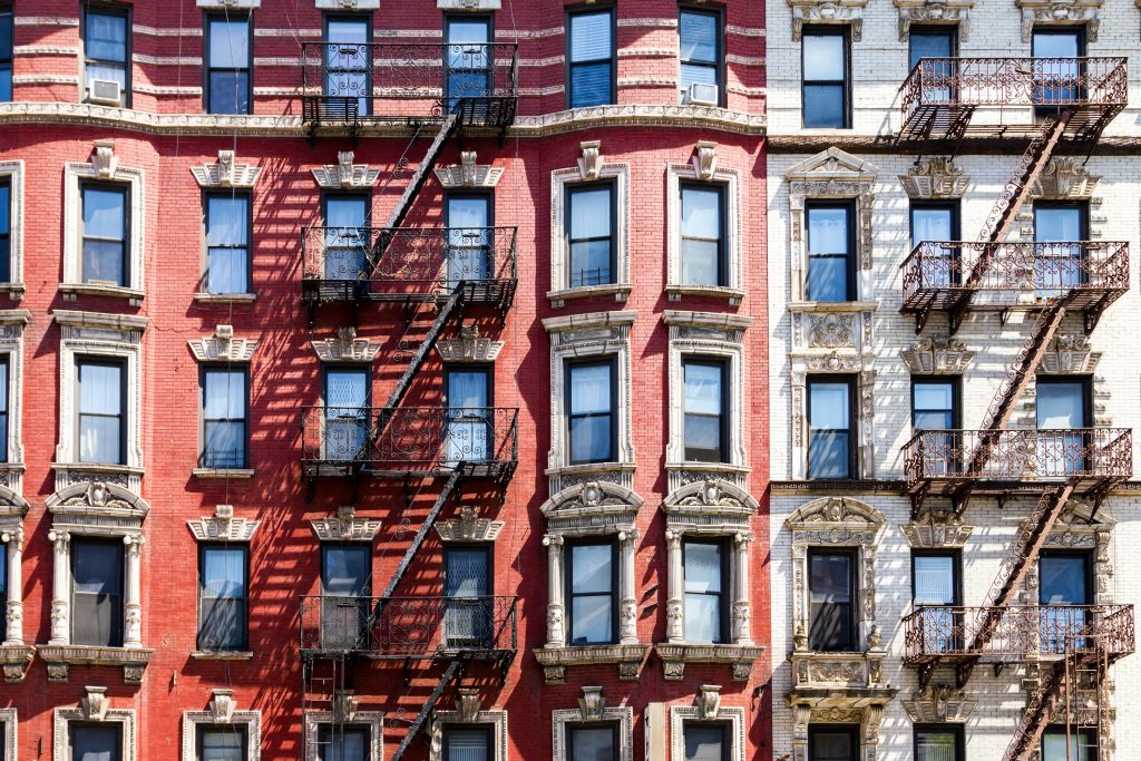 New York City historic apartment building windows and fire escapes in Manhattan