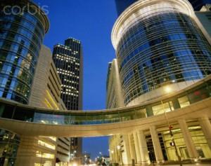 Houston, TX Financial District at dusk