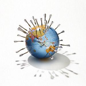 Globe stuck with darts