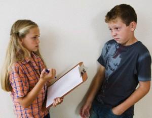 Girl Asking Boy Survey Questions