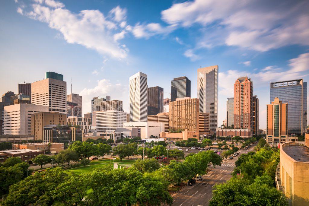 Houston, Texas, USA downtown city park and skyline.