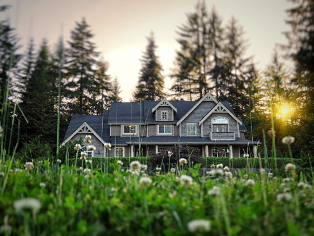 Photo of a modern style American luxury home, photographed at a low angle with tilt-shift effect.
